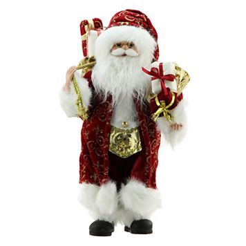Northlight 16-in. Traditional Faux-Fur Standing Santa Christmas Decor