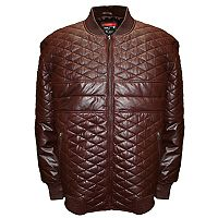 Big & Tall Franchise Club Double Diamond Quilted Lambskin Leather Bomber Jacket