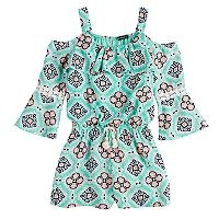 Girls 7-16 My Michelle Cold-Shoulder Printed Ruffle Front Romper