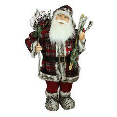 Northlight 3-ft. Snowshoes & Skis Faux-Fur Santa Christmas Decor