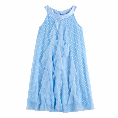 Disney D-Signed Girls 7-16 Ruffle Front Clip Dot Shift Dress