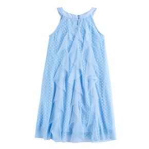 Disney D-Signed Girls 7-16 Ruffle Front Clip Dot Shift Dress