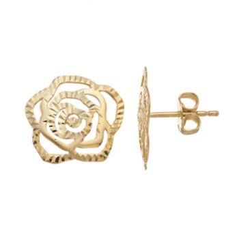 14k Gold Textured Rose Stud Earrings