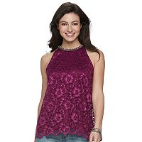 Women's Jennifer Lopez Embellished Lace Tank