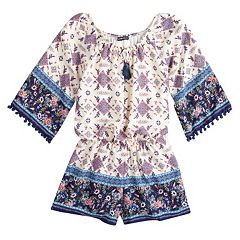 Girls 7-16 My Michelle Bell Sleeve Tassel Trimmed Romper