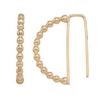14k Gold Beaded Half-Circle Threader Earrings