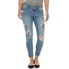 Women's Jennifer Lopez Floral Ripped Midrise Ankle Skinny Jeans