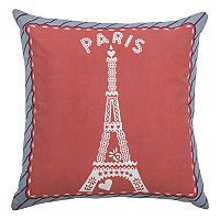 Rizzy Home Eiffel Tower Paris Print Embroidered Throw Pillow