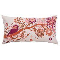 Rizzy Home Bird Applique & Foliage Print Oblong Throw Pillow