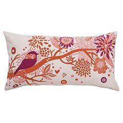 Rizzy Home Bird Applique & Foliage Print Oblong Throw Pillow