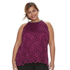 Plus Size Jennifer Lopez Embellished Lace Tank