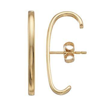 14k Gold Bar Linear Cuff Earrings