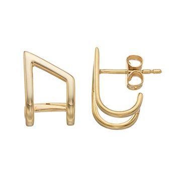 14k Gold Open Cuff Earrings