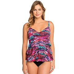 Women's Croft & Barrow® Hip Minimizer Tiered D-Cup Swimsuit