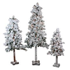 Northlight Pre-Lit Flocked Woodland Alpine Artificial Christmas Tree 3-piece Set