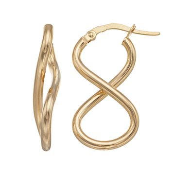 14k Gold Infinity Loop Drop Earrings