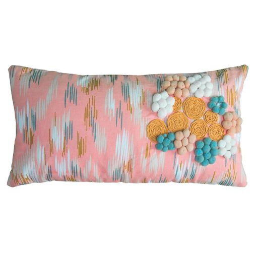 Rizzy Home Floral Ikat Oblong Throw Pillow