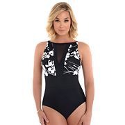 Women's Croft & Barrow® Waist Minimizer High-Neck One-Piece Swimsuit