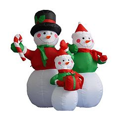 Pre-Lit Inflatable Snowman Family & Blower Outdoor Christmas Decor 7-piece Set