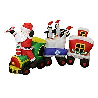 Pre-Lit Inflatable Santa Express Train Outdoor Christmas Decor 7 pc Set