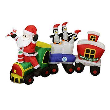 Pre-Lit Inflatable Santa Express Train Outdoor Christmas Decor 7-piece Set