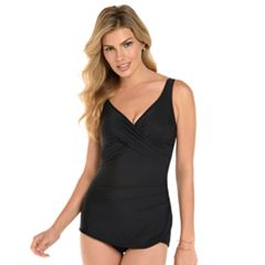 Women's Croft & Barrow® Thigh Minimizer Crossover One-Piece Swimsuit