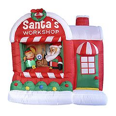 Pre-Lit Inflatable 'Santa's Workshop' Outdoor Christmas Decor 7-piece Set