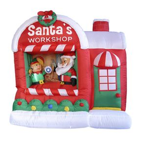 """Pre-Lit Inflatable """"Santa's Workshop"""" Outdoor Christmas Decor 7-piece Set"""