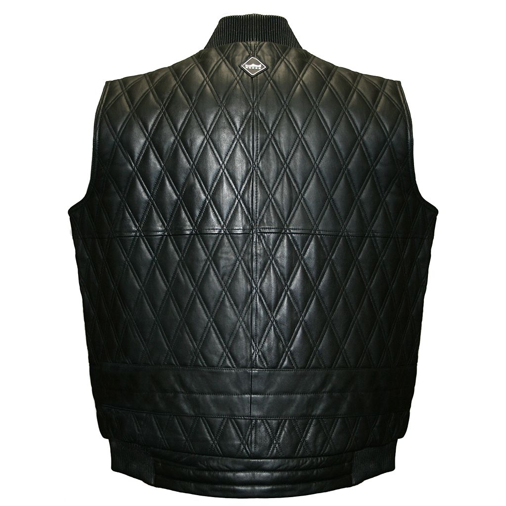Big & Tall Franchise Club Diamond Quilted Lambskin Leather Vest