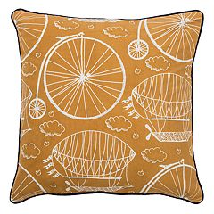 Rizzy Home Bike & Hot Air Balloon Throw Pillow