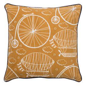Rizzy Home Bike & Hot Air Balloon Throw Pillow