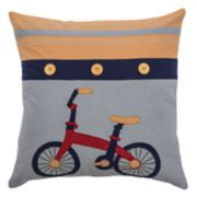 Rizzy Home Embroidered Bike Throw Pillow