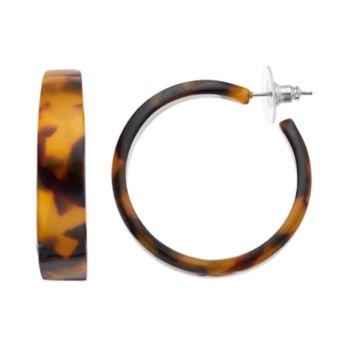 Tortoise Flat Tube Nickel Free Hoop Earrings