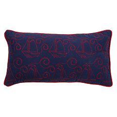 Rizzy Home Embroidered Sailboats Oblong Throw Pillow