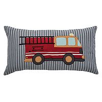Rizzy Home Fire Truck Applique Oblong Throw Pillow