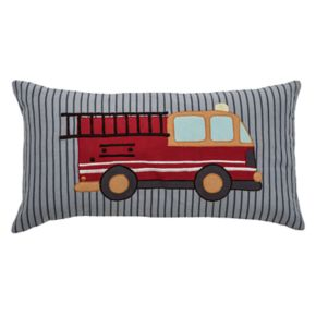Rizzy Home Fire Truck Applique Oblong Throw Pillow