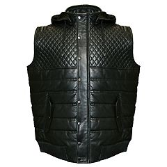 Big & Tall Franchise Club Geo Hooded Lambskin Leather Vest