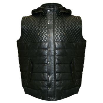 Big & Tall Franchise Club Geo Hooded Lambskin Leather Vest