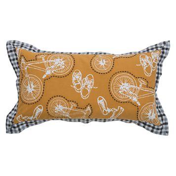 Rizzy Home Bike Print Oblong Throw Pillow