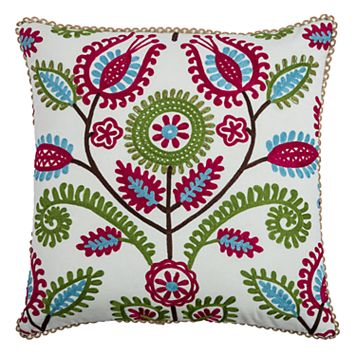 Rizzy Home Embroidered Flowers Throw Pillow