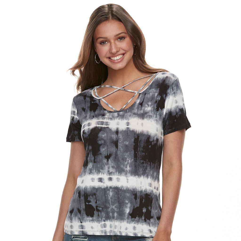 Juniors' Cloud Chaser Strappy Tie-Dye Tee