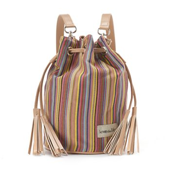 love this life Striped Canvas Tassel Drawstring Backpack