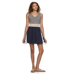 Juniors' Speechless Miter-Striped Skater Dress