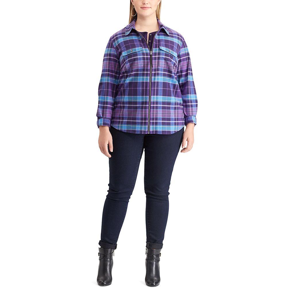 Plus Size Chaps Plaid Twill Zip-Front Shirt