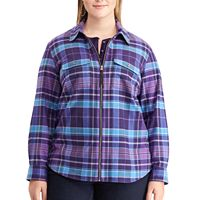 Plus Size Chaps Plaid Twill Zip-Front Shirt
