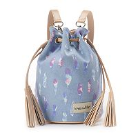 love this life Feather Canvas Tassel Drawstring Backpack