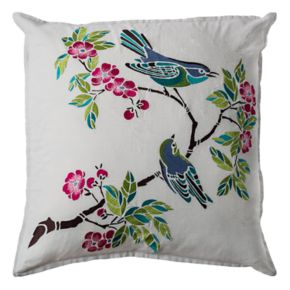 Rizzy Home Flowers & Birds Throw Pillow