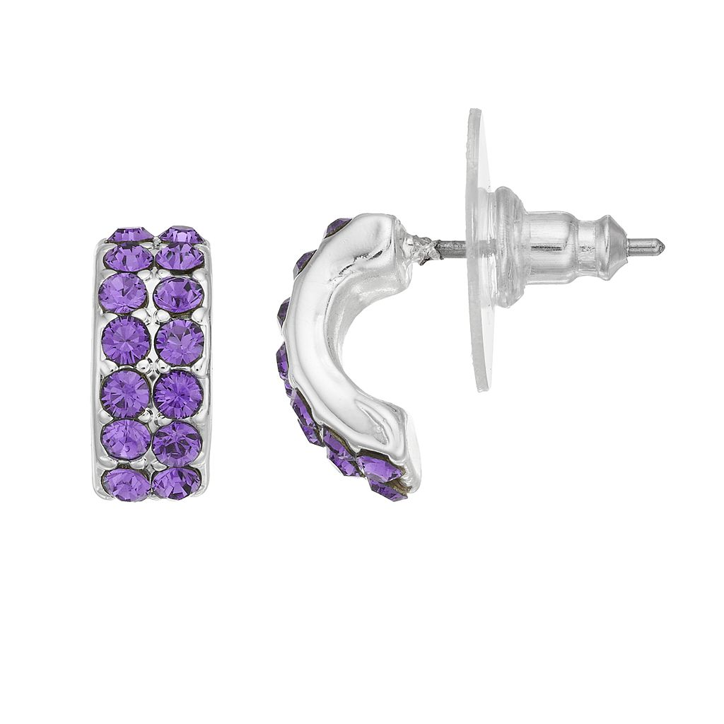 Dana Buchman Pave C-Hoop Earrings