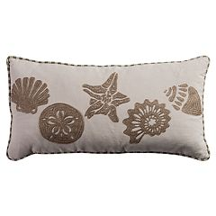 Rizzy Home Shells Coastal Oblong Throw Pillow