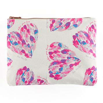 love this life Watercolor Feather Heart Pouch